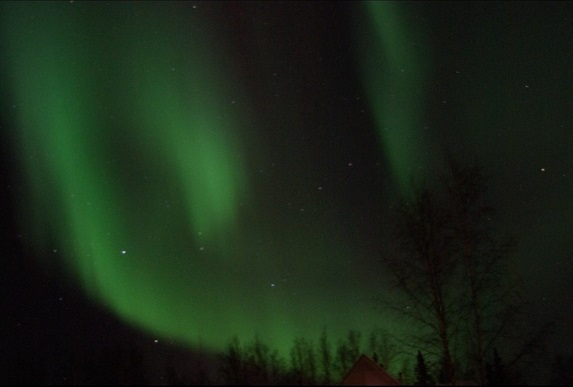 Due to Fairbanks being so close to the artic circle, northern Lights over Fairbanks are visible even in the lightest of solar activity (Photo credit: Lisa Brose).