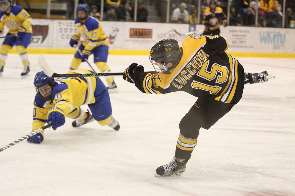 Jake Lucchini takes a shot against the Nanooks last Spring (Photo credit: Ryan Johnson).