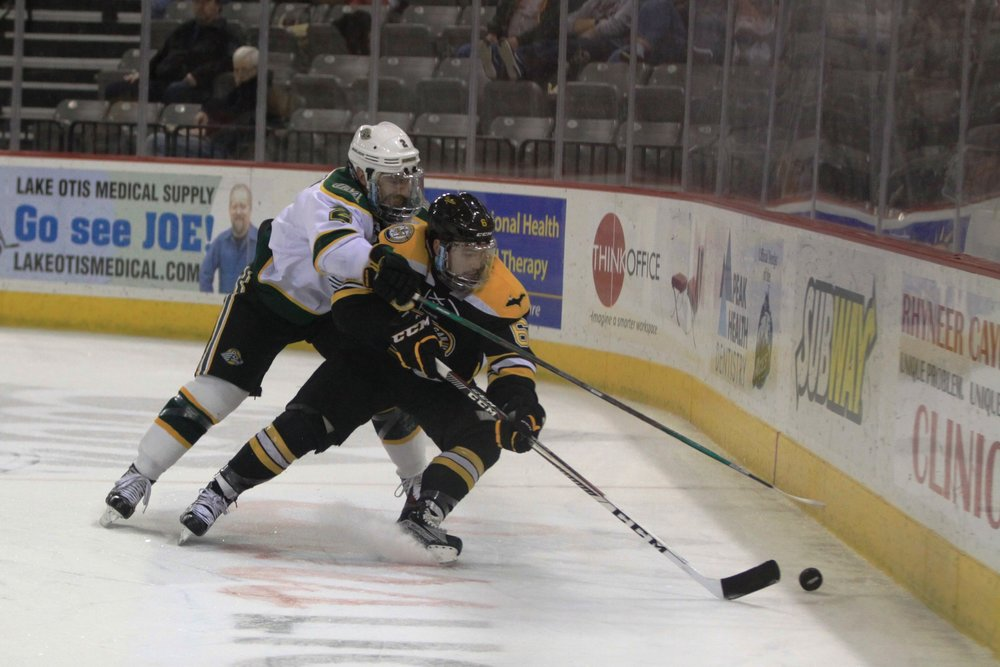 Chris Liebinger battles Chase Van Allen (Sr., D - UAA) for control of the puck up the boards (Photo Credit: Ryan Johnson).