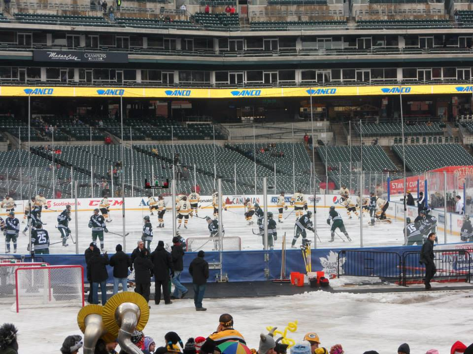 Michigan Tech and Michigan State take their warm-up skates during the 2013 GLI at Comerica Park (Photo courtesy Jeremy Loucks).
