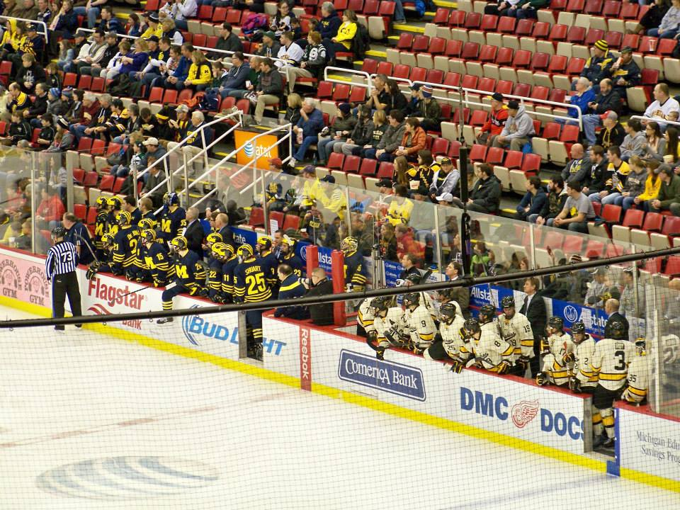 Michigan and Michigan Tech players on the bench at the 2014 GLI (Photo courtesy Hannah Kowalewsky).