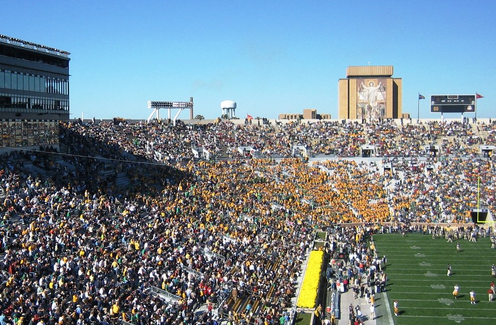 """Touchdown Jesus"" is visible from inside Notre Dame Stadium (Photo from public domain courtesy Wikipedia user Fuhreeus)."
