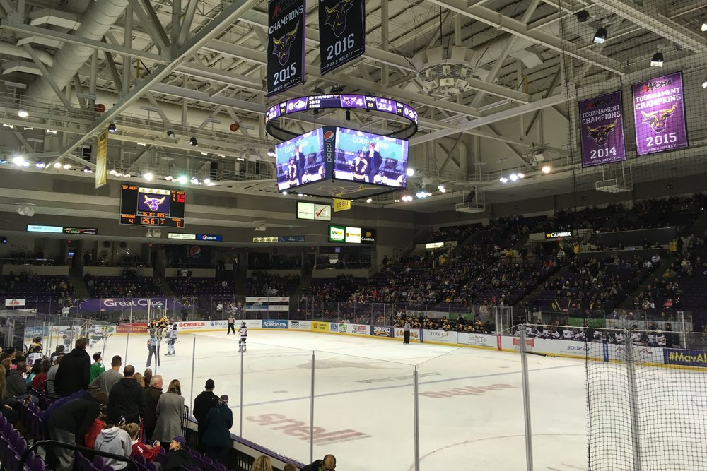Teams get ready for a faceoff in Mankato, earlier this season (Photo credit: Alex Slepak).