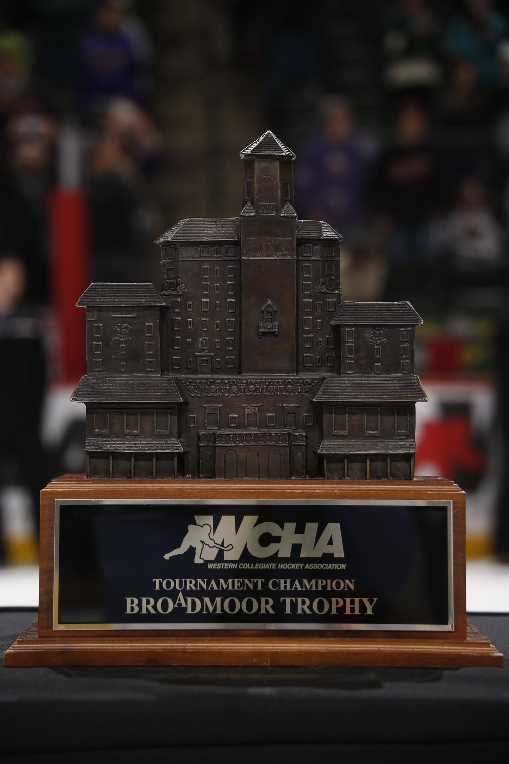 This weekend's prize, the Broadmoor Trophy (Photo courtesy WCHA).