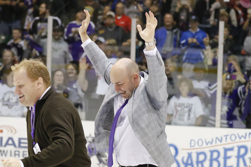 Bill Muckalt celebrating a victory, courtesy of Tri-City Storm (USHL)