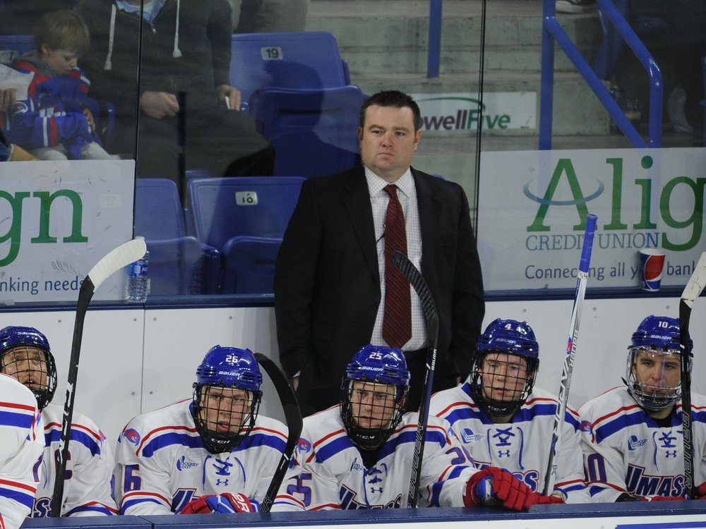 Cam Ellsworth behind the bench with UMass Lowell, courtesy of UMass Lowell Athletics