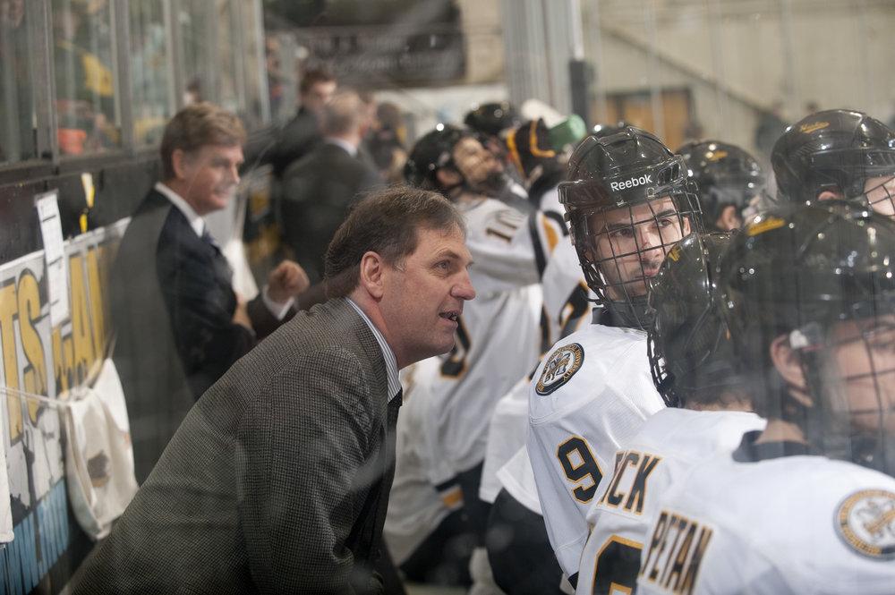Joe Shawhan coaching up the Huskies, courtesy of Michigan Tech Athletics
