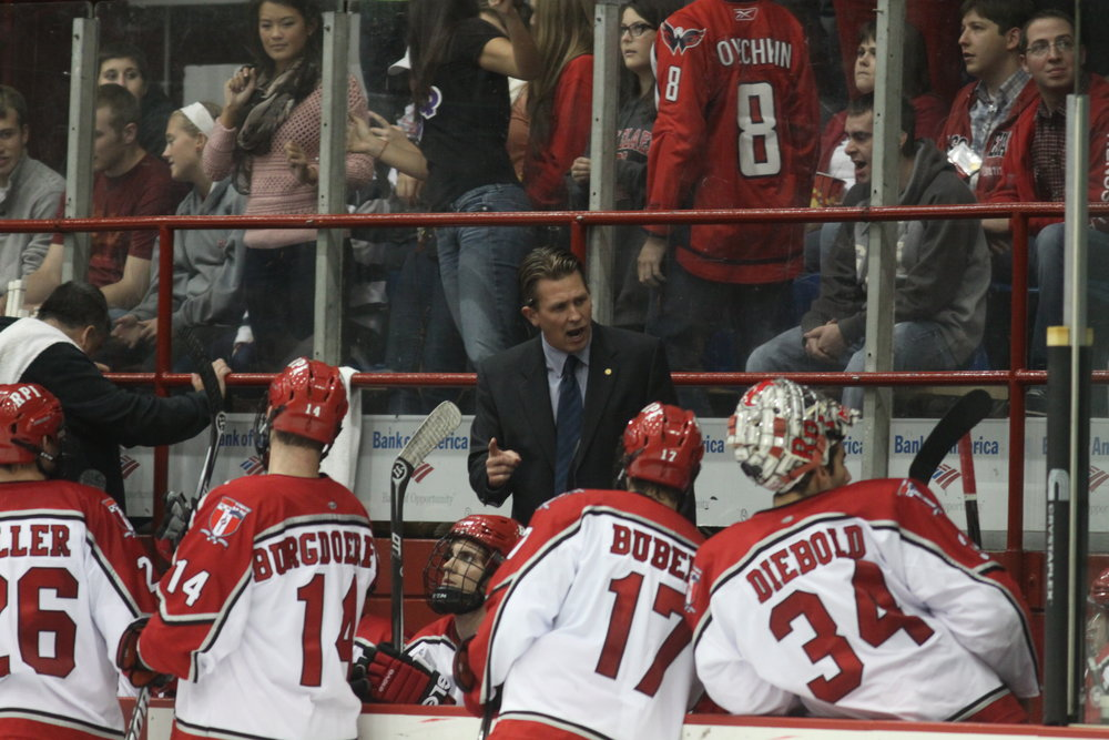 Seth Appert coaching up the Engineers - Courtesy of RPI Athletics