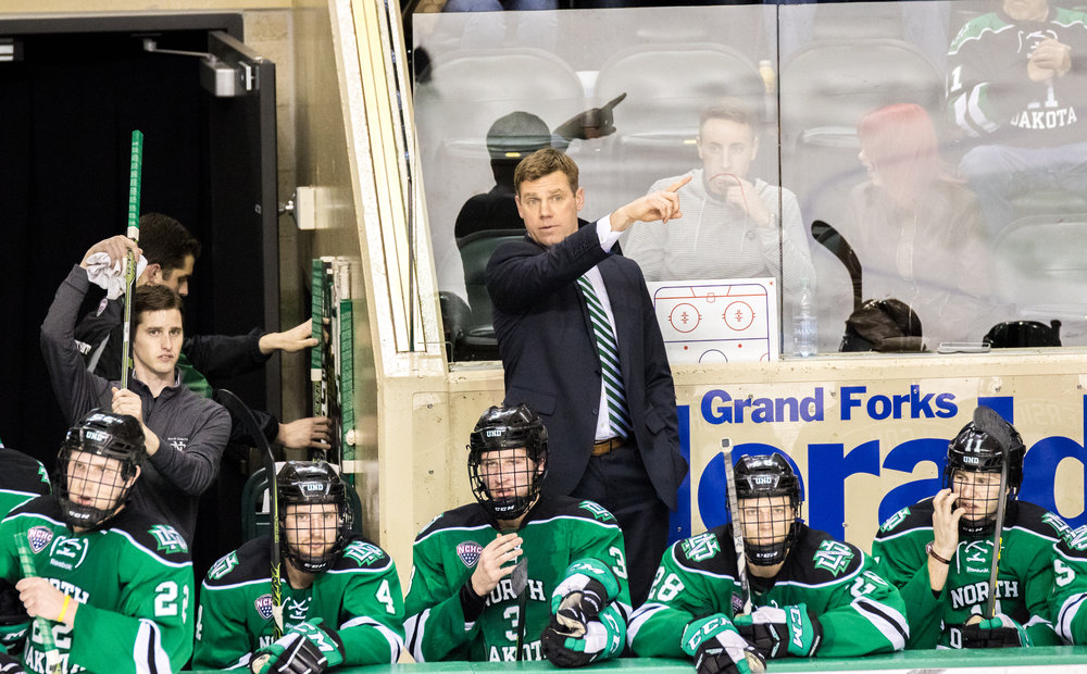Dane Jackson has been Associate Head Coach at UND since 2016. (Photo Credit: Tyler Ingham)