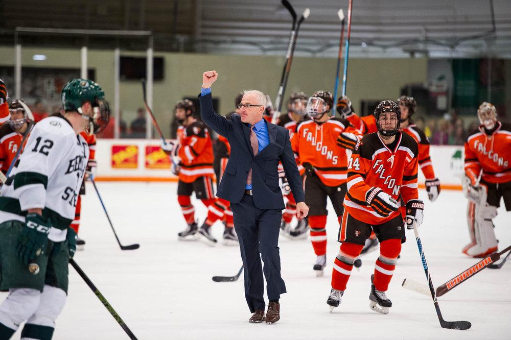 Bergeron celebrating a victory over Bsu (photo credit: Todd Pavlack - Bgsuhockey.com)