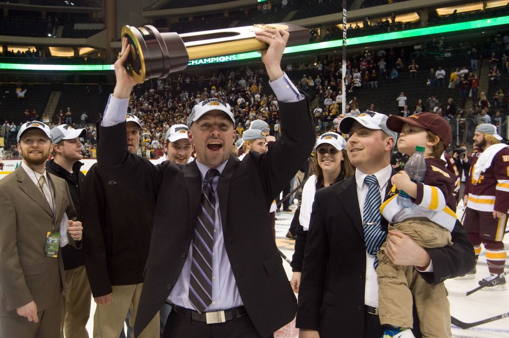Brett Larson celebrating UMD's National Championship (PHOTO CREDIT: UMD Athletics)