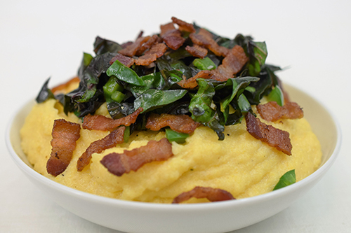 Cheesy Grits with Bacon and Chard