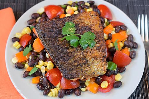 Pan Seared Salmon and Black Bean Salad