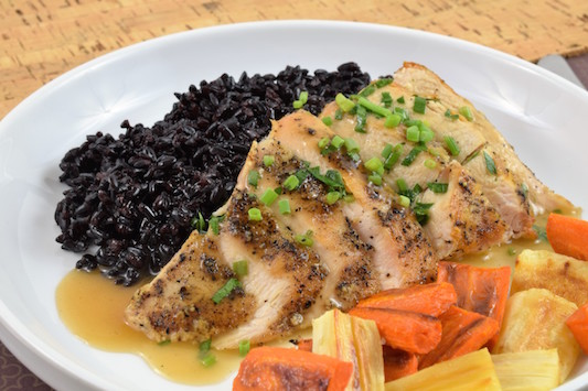 Seared Chicken with Fines Herbes, Black Rice and Roasted Root Veggies