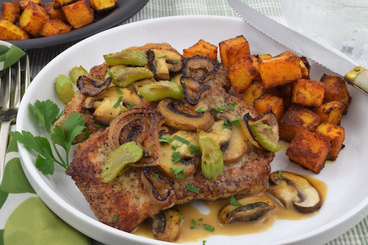 Pork Scaloppini with Mushrooms and Roasted Butternut Squash - A Healthy Choice