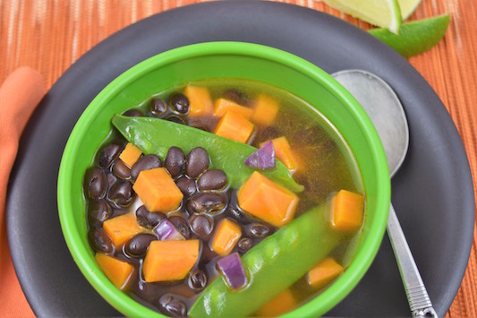 Black Bean and Sweet Potato Soup with Garlic Bread
