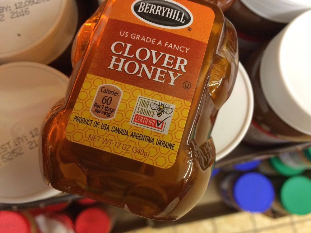 This jar of honey claims to be US honey but look at the four different honey sources.