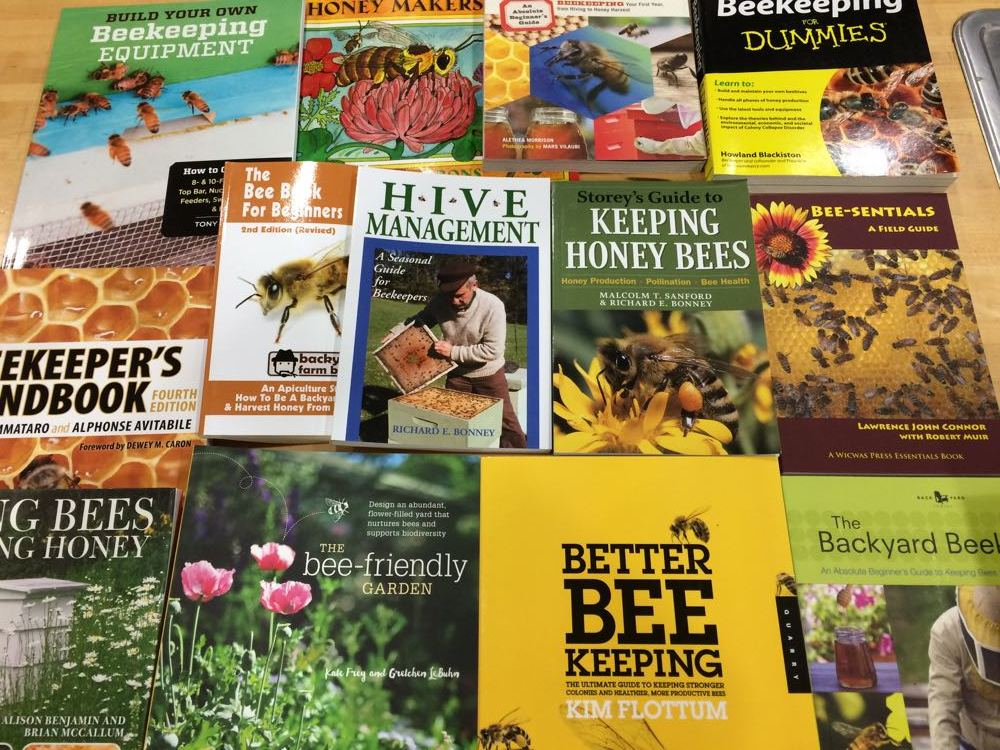 The selection of beekeeping books that will soon be available on loan from Rolla Public Library.