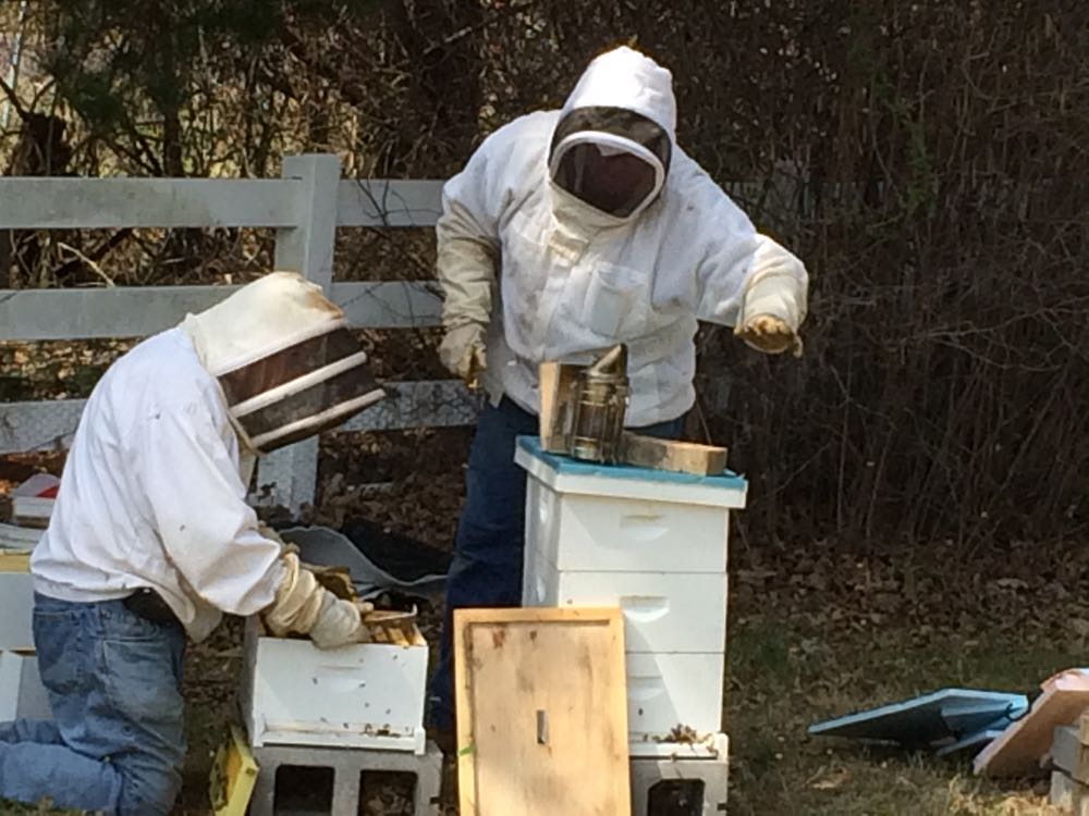 Joining my bee buddy David, left, at a first spring hive inspection.