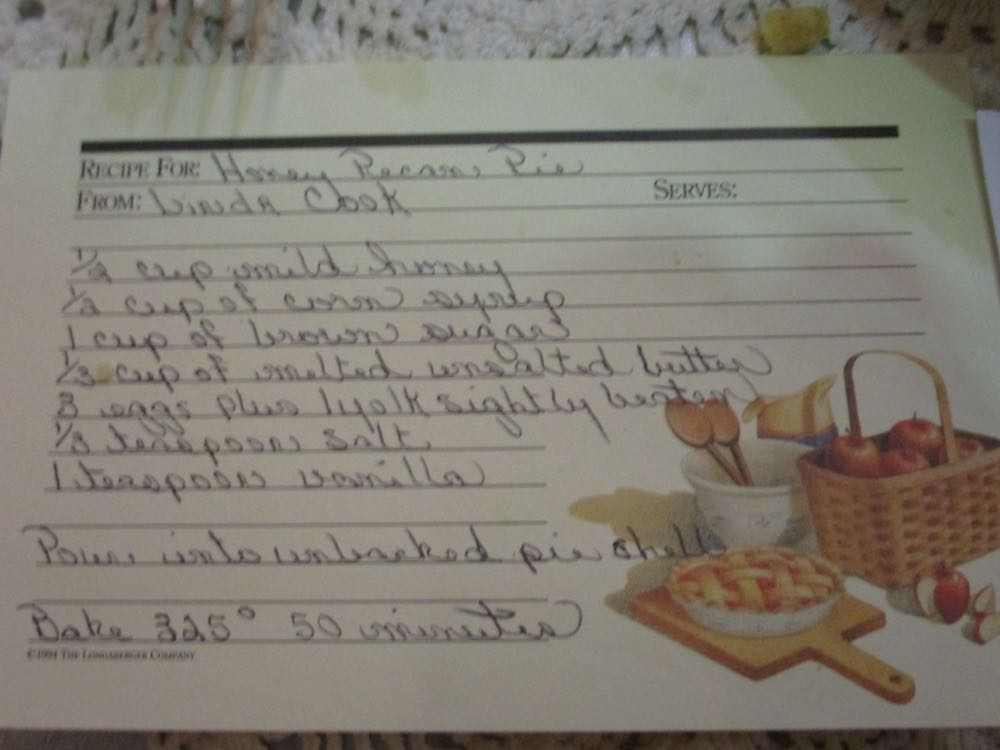 Here is the winning recipe for Honey Pecan Pie in the baker's handwriting.