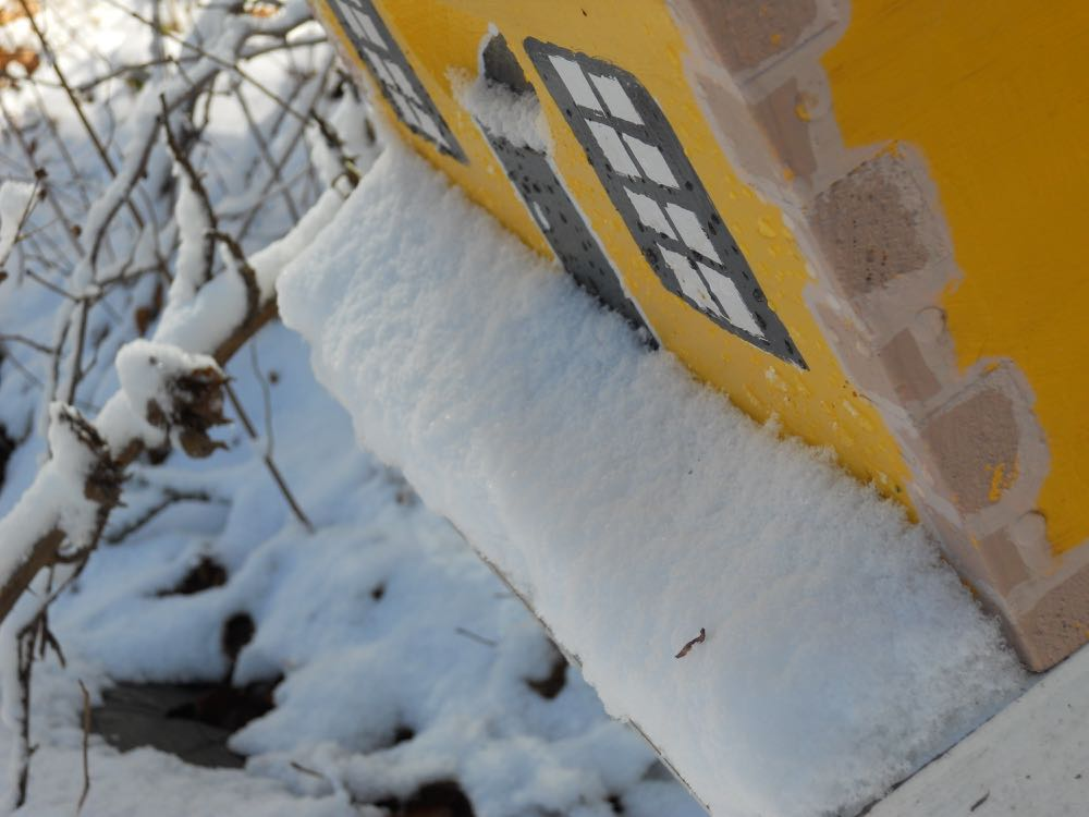 Snow can easily close up the small hive entrance and leave honeybees without a way to get out.