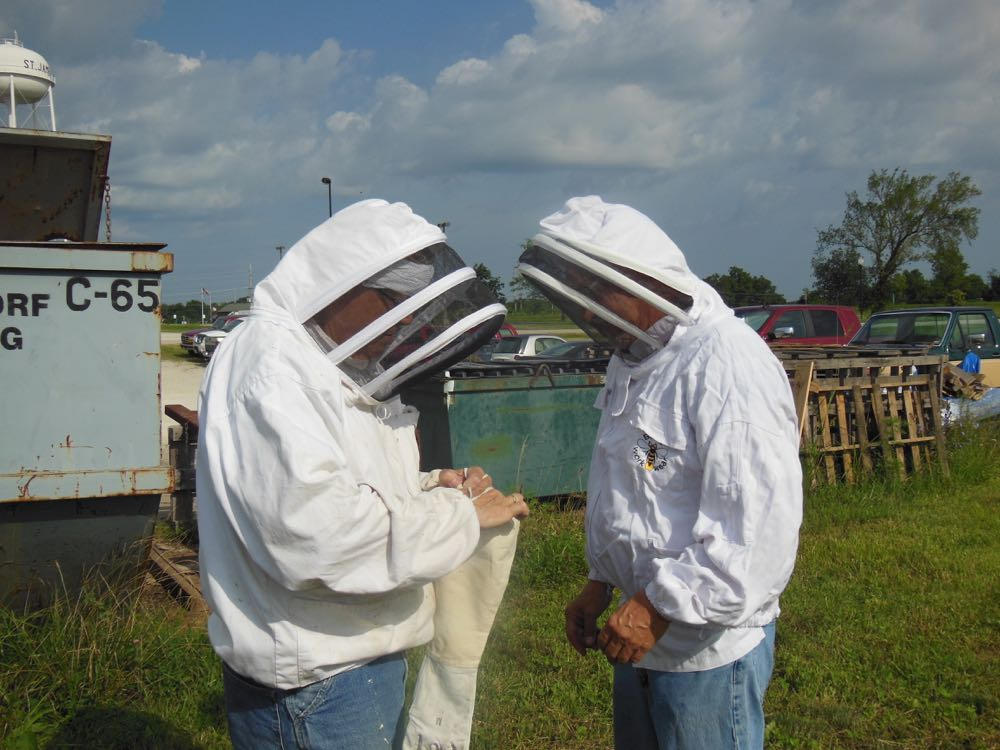 The president of the company where we were removing the bees suits up to lend a hand.