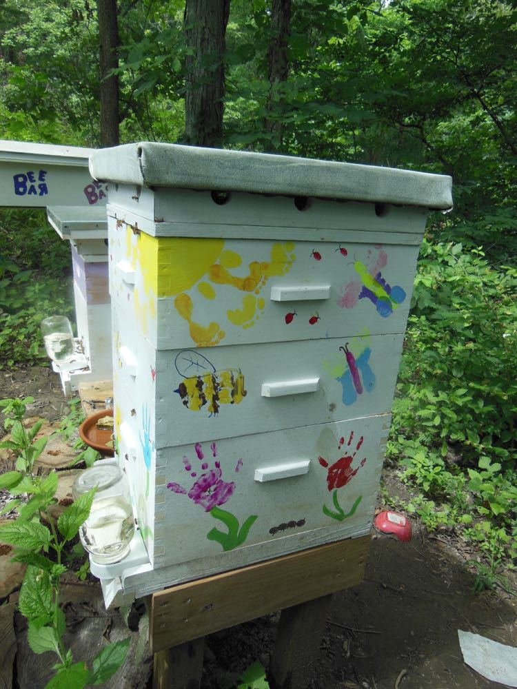 Side view of these hives painted with the help of young artists.