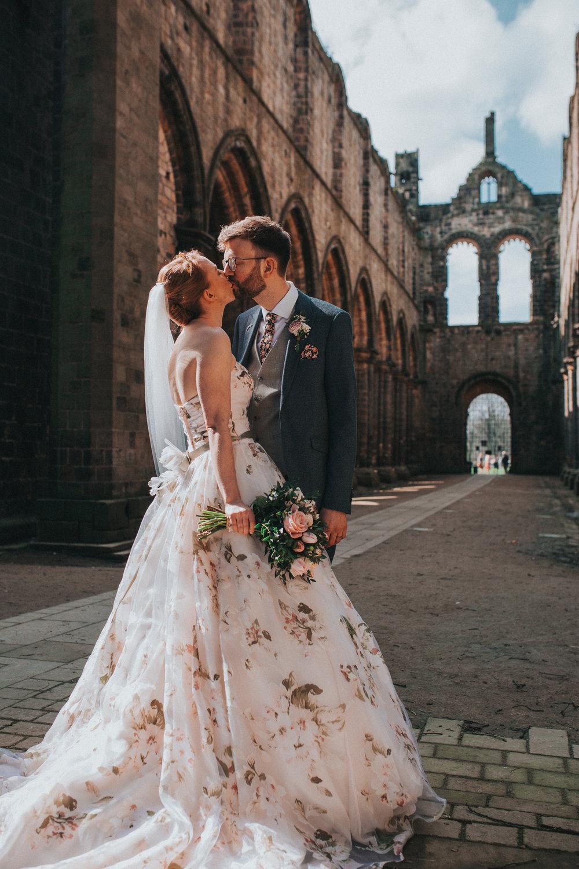 Leeds wedding with floral wedding dress yorkshire