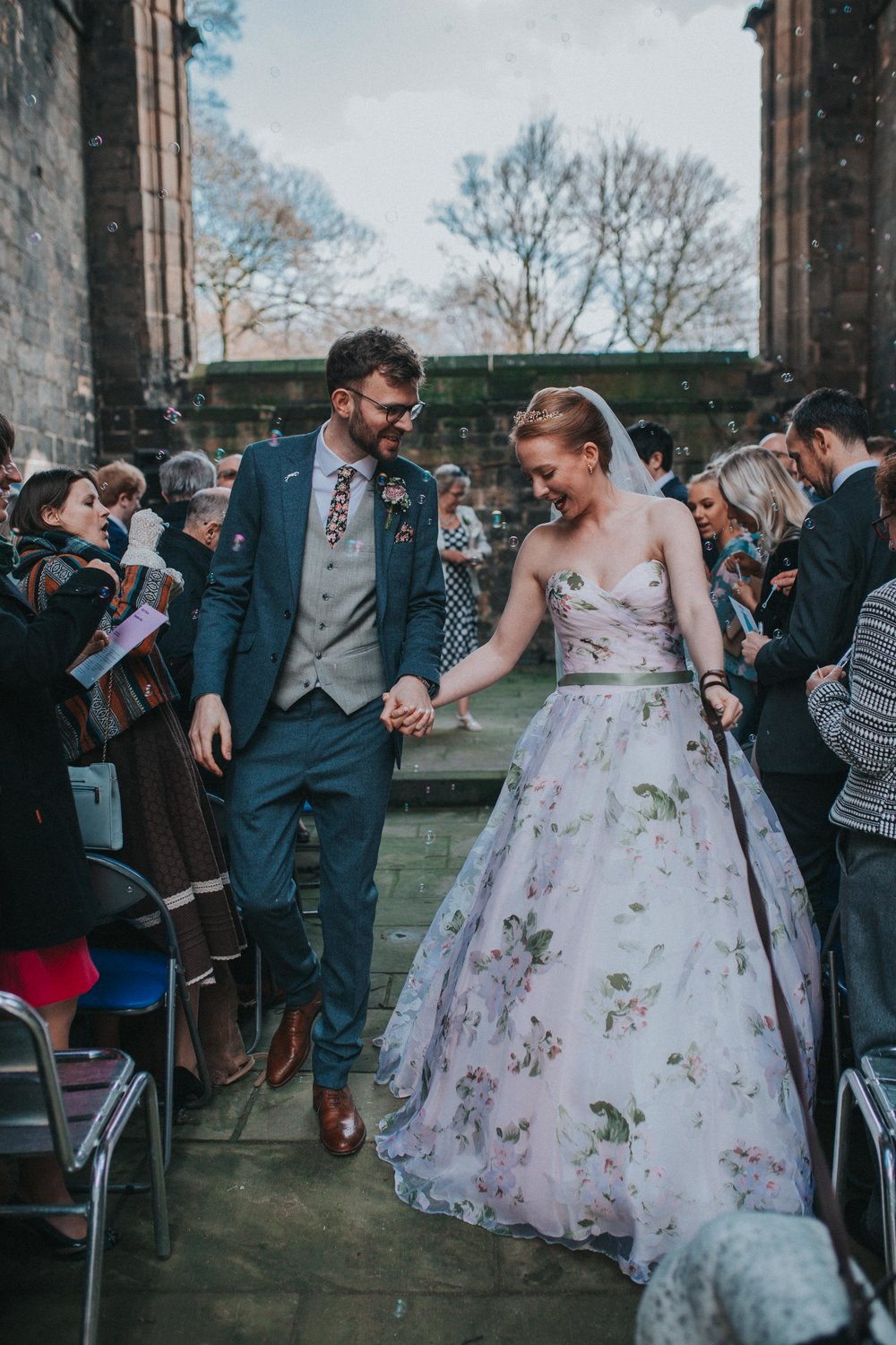 Leeds wedding with floral wedding dress yorkshire photography