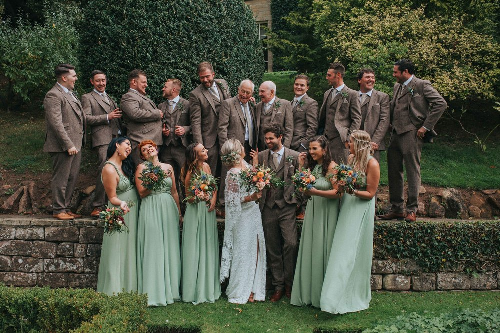 boho wedding natural photography yorkshire group shot