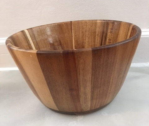 wooden salad bowl   13 x 8 inch wooden salad bowl  $3.50