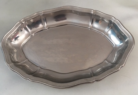 large metal bowl   9.5x14 inch silver bowl  $12.50