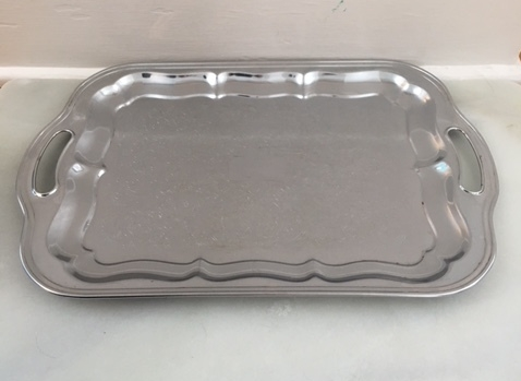 large metal tray   19.5x12 inch silver tray  $12.50