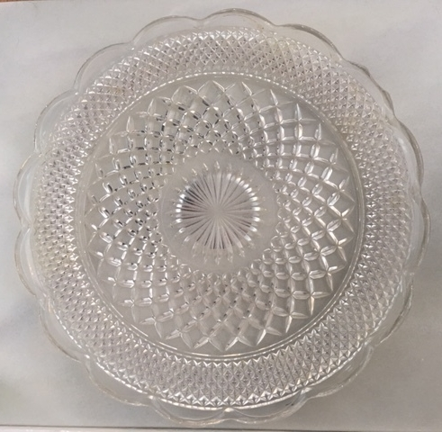 LARGE GLASS PLATTER   14 inch diameter designed glass platter  $13