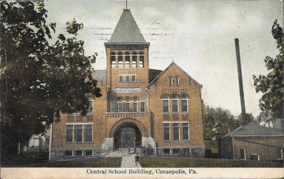 Central School Bldg - divided back lithograph - abt 1910 - Coraopolis, PA.jpg