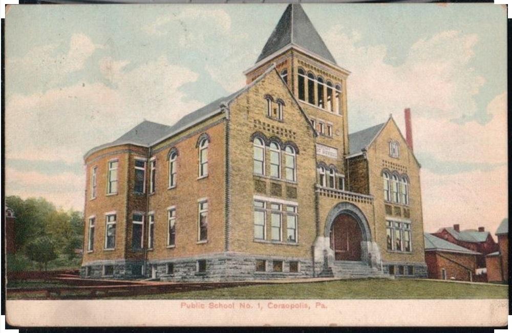 Public School No 1 - Prelinen Postcard - 1908 - Coraopolis PA.jpg