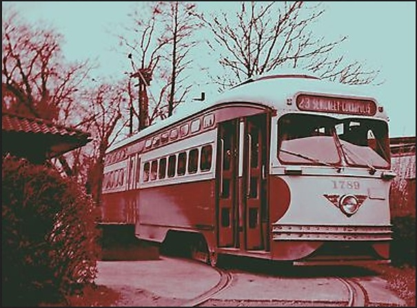 "Historical 8 ½"" x 11"" color photo of Pittsburgh Railways PCC Trolley Car #1789, Route #23 Sewickley-Coraopolis, taken on the turn-around loop at the end of the line in Sewickley sometime in early 1951."