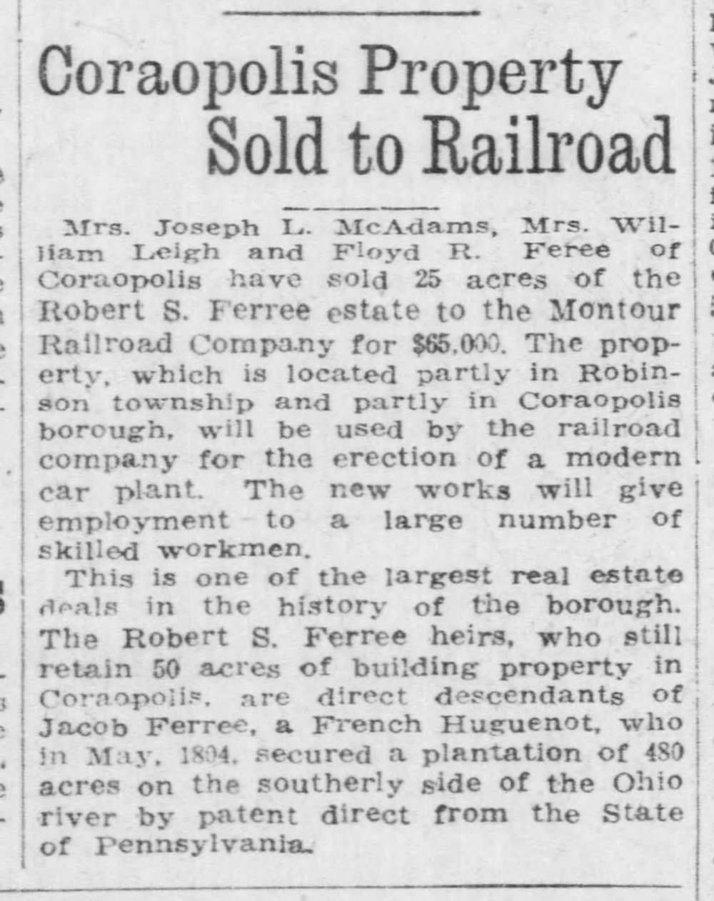 1918-12-19 Pittsburgh Daily Post - Coraopolis Property Sold to RR.jpg
