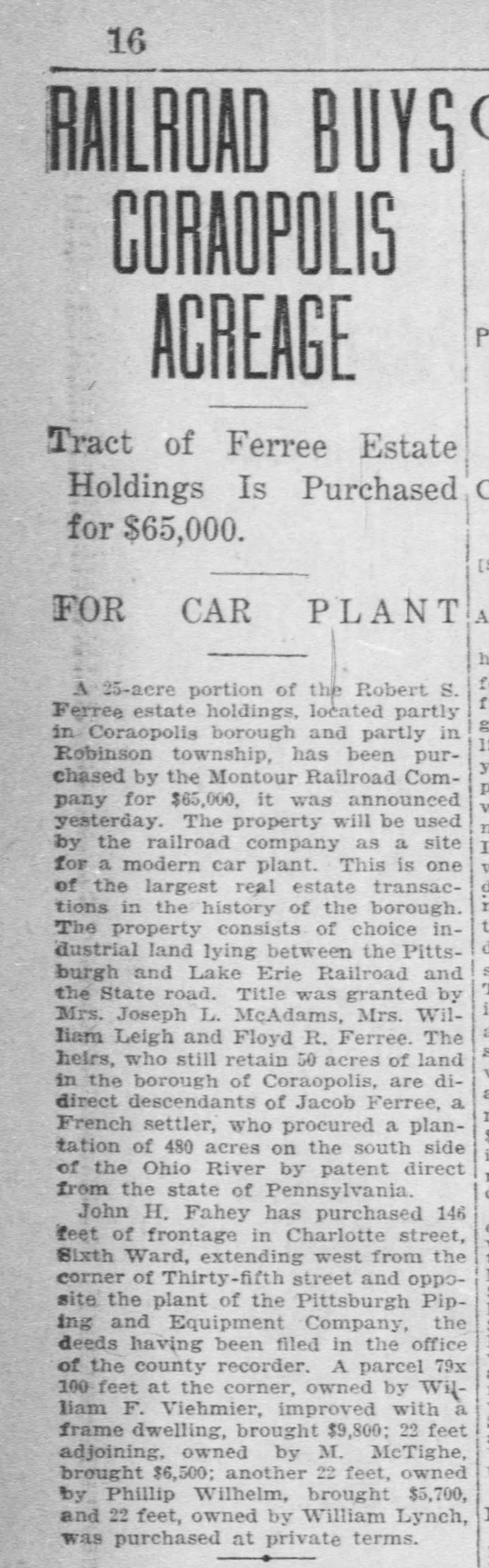 1918-12-19 Pittsburgh Post Gazette - RR Buys Coraopolis Acreage.jpg