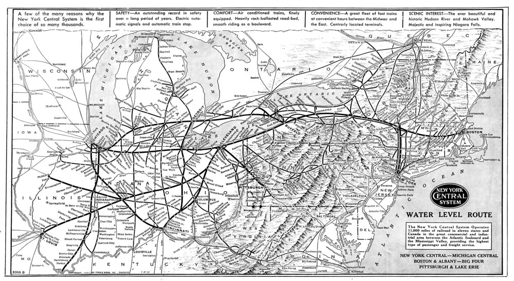 P&LE New York Central System Map, 1947 (1933 Poole Brothers)