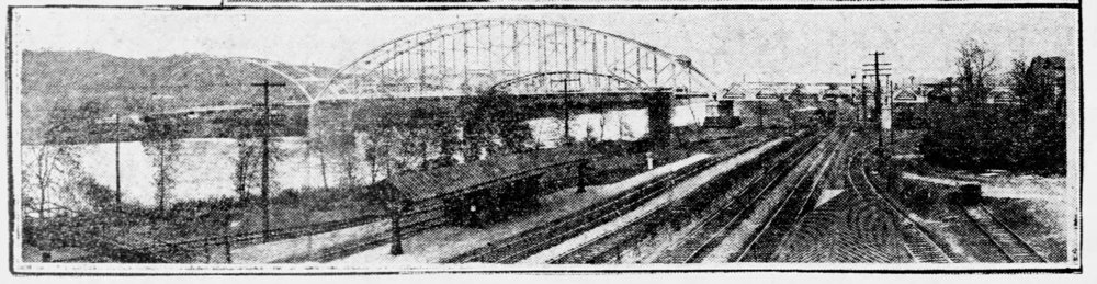 Recycled Bridge can be seen in the forefront, just after it was moved to this location. In the background, one of the last images taken of the Montour Bridge, before it was dismantled.  (The left foreground of the photo is the Montour Junction P&LE stop.)