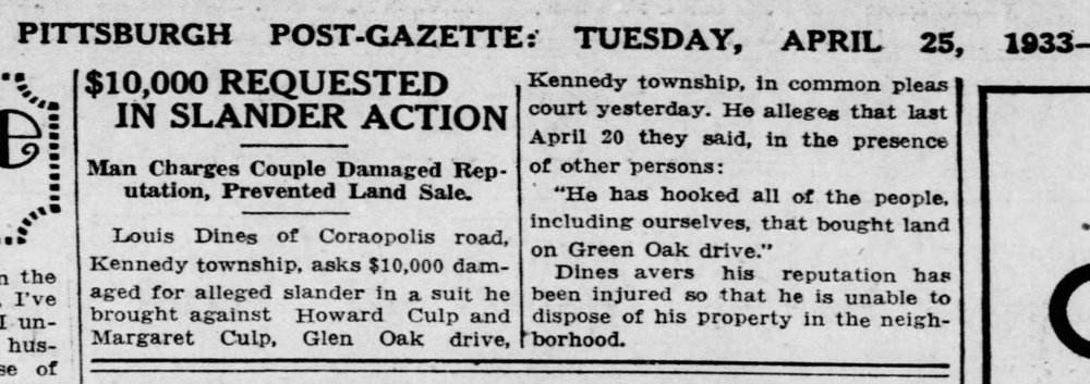 Pittsburgh Post Gazette, Tuesday, April 25, 1933 (volume 6, number 230, page 9).