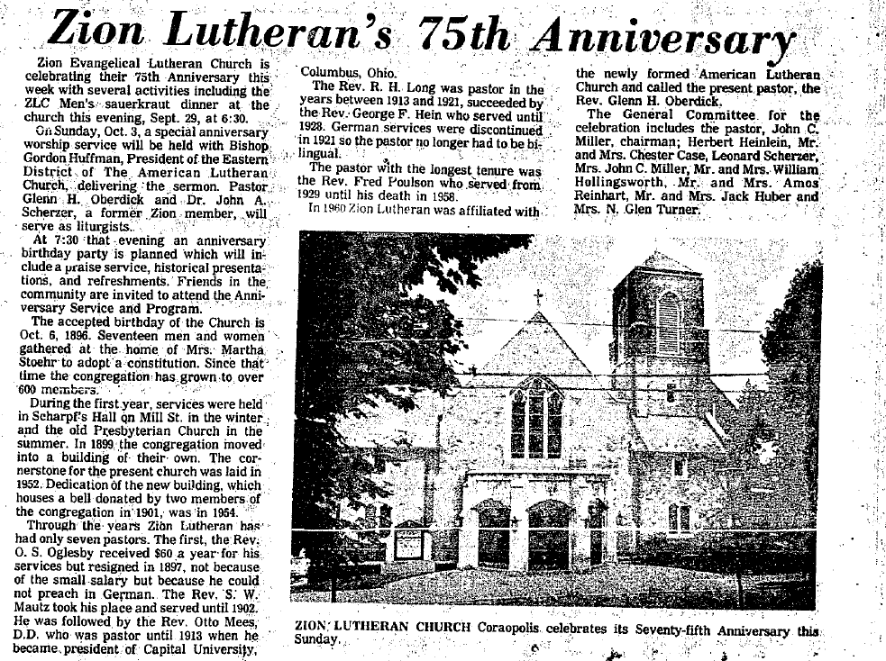1971-09-29 The Coraopolis Record - Zion Lutheran's 75th Anniversary