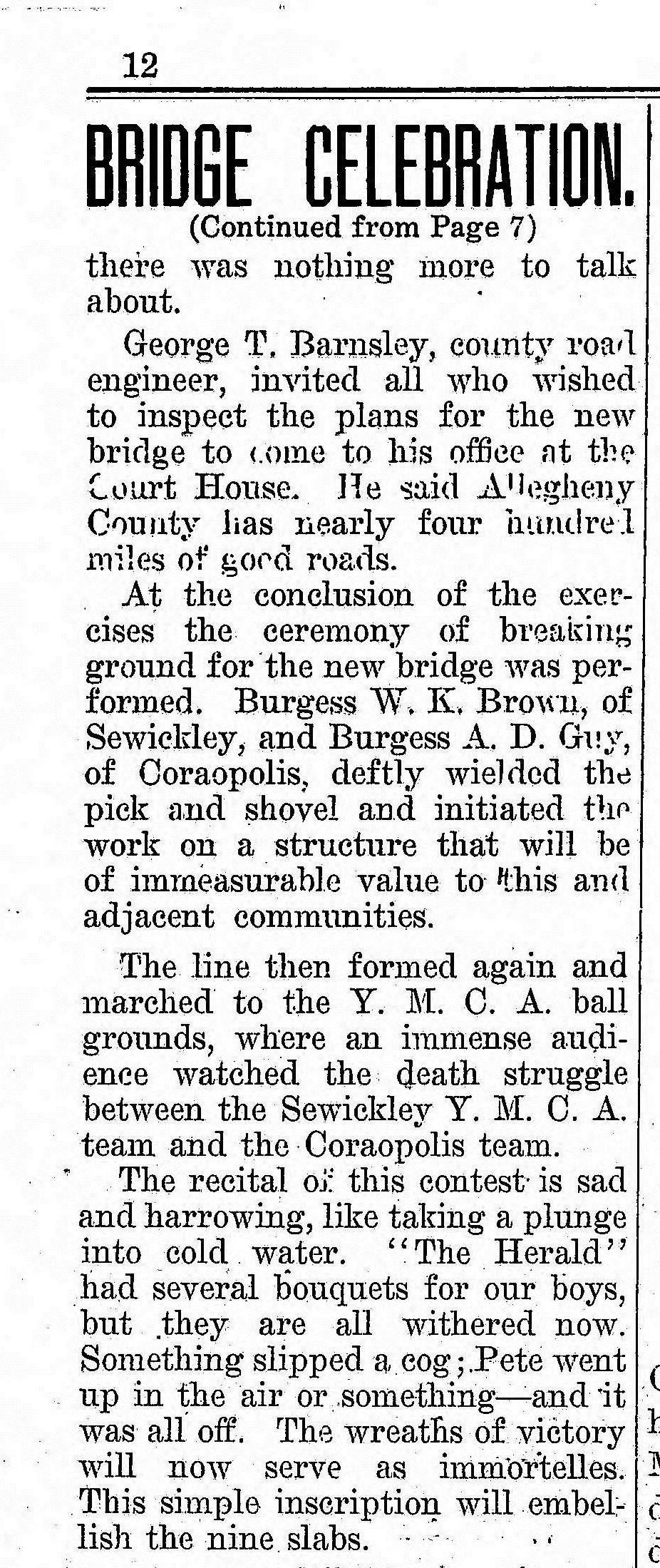 1909-07-24 The Weekly Herald (Sewickley Herald) - Bridge Celebration (pg12).jpg