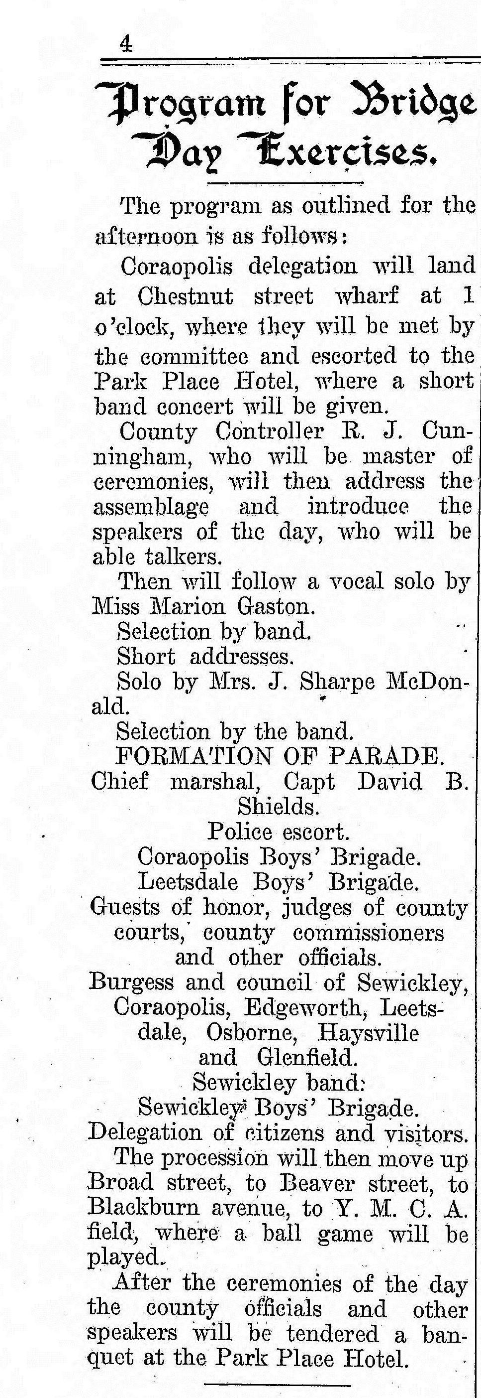 1909-07-17 The Weekly Herald (Sewickley Herald) - Program for Bridge-Day (pg4).jpg