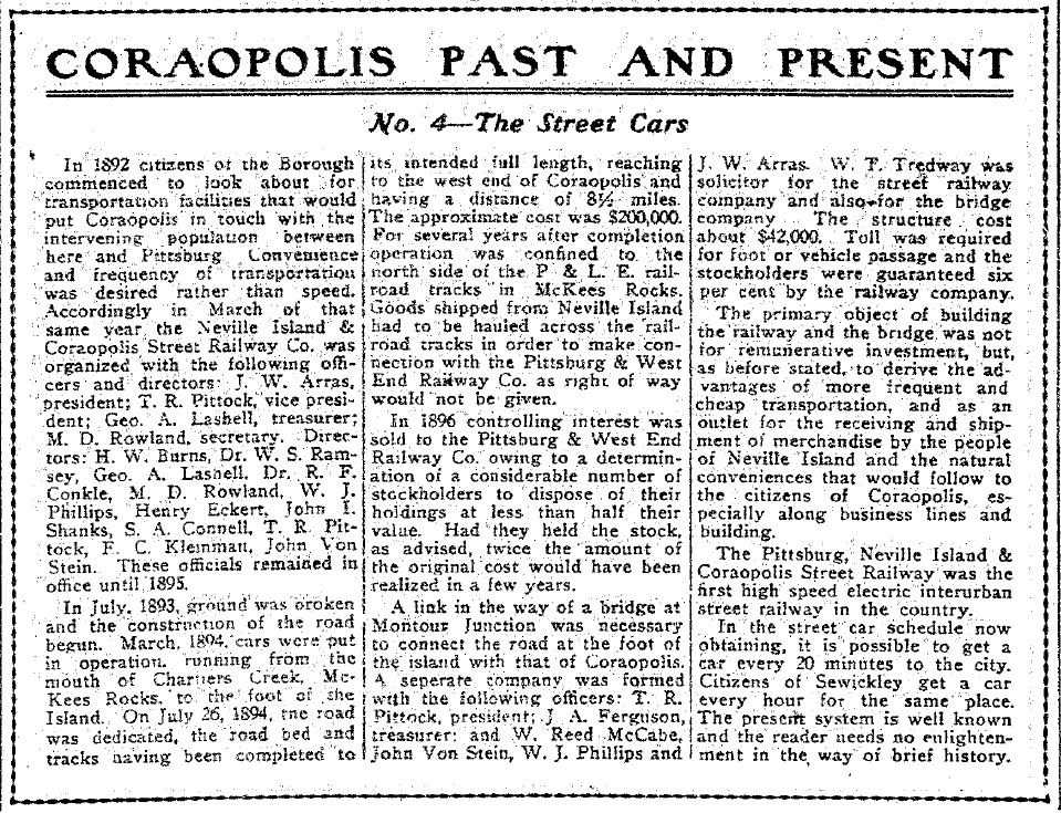 1917-04-27 The Coraopolis Record - (4) The Street Cars