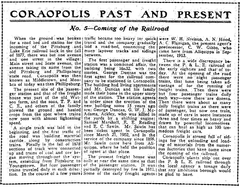 1917-05-04 The Coraopolis Record - (5) COMING OF THE RAILROAD