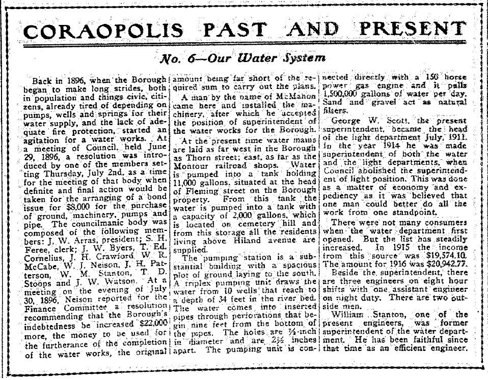 1917-05-11 The Coraopolis Record - (6) Our Water System