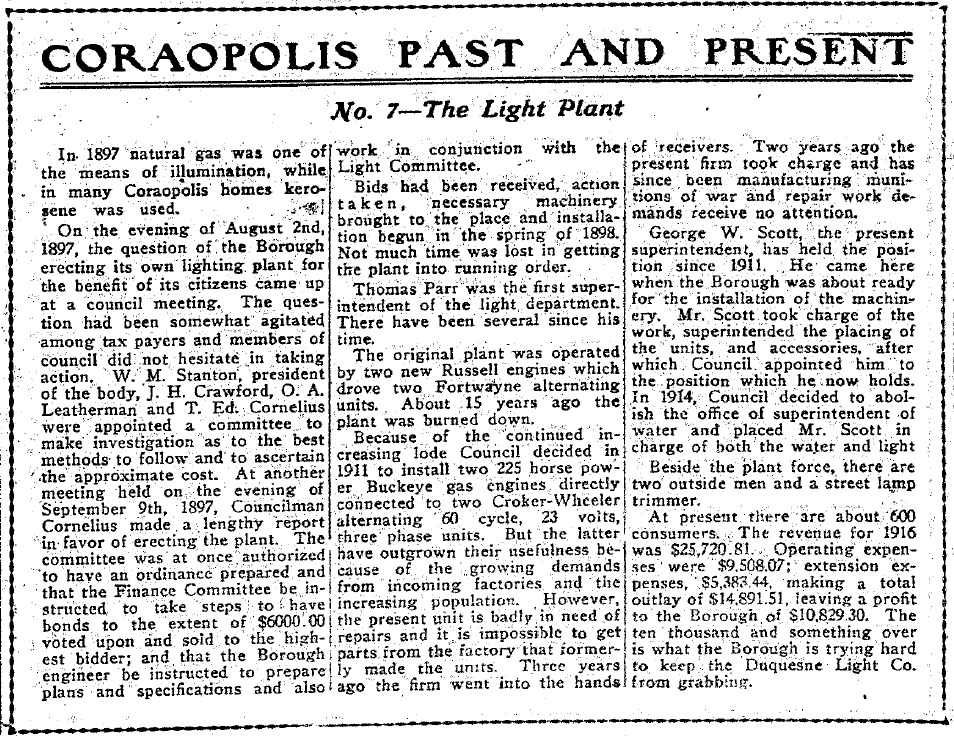 1917-05-18 The Coraopolis Record - (7) The Light Plant