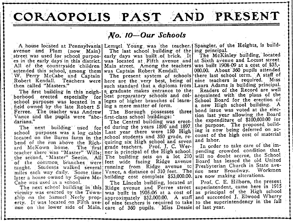 1917-08-10 The Coraopolis Record - (10) Our Schools